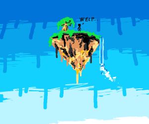 man stuck on island in the sky