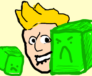 dady green cube not happy with his child