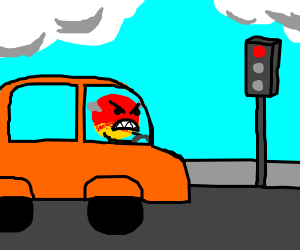 Smiley goes insane at stoplight
