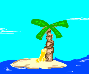A yellow sock on a deserted island