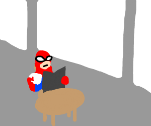 spiderman drinking coffe and reading the news
