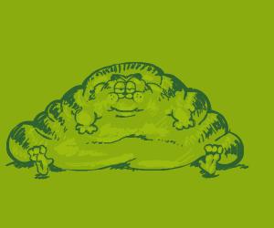 Overlarge Garfield's shape resembles trashbag