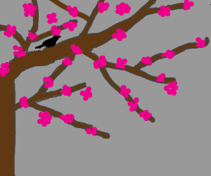 Bird on a Flowering Tree Branch
