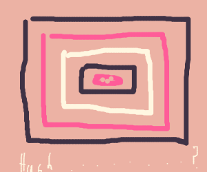 Huch the pink blob is trapped in a frame