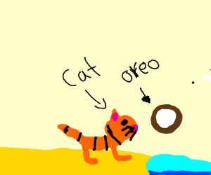 Cool cat dropped an Oreo off the end of the b