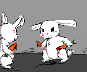 Rabbits battling to the death with carrots