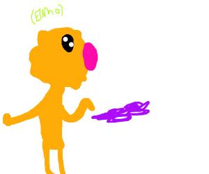 Elmo touches purple pus