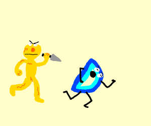 Yellow muppet chases D with a knife