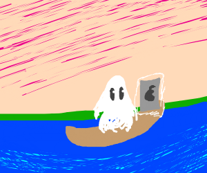 ghost chilling with his ipod on a raft