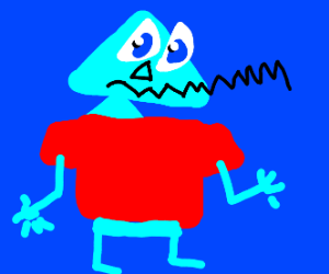 Abstract person wearing a red shirt