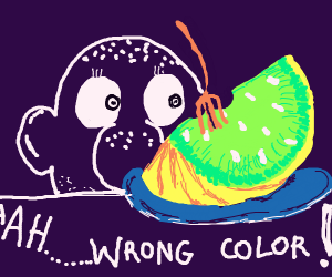 """A guy yelling """"Wrong color!"""" at a watermelon"""