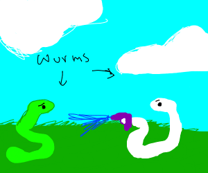 white wurm shootin a green wurm