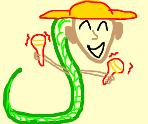 Mexican man snake is very happy