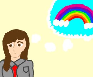 Girl in grey uniform thinks of rainbows
