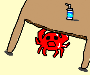 Crab hiding under a table