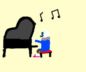 sans playing a piano