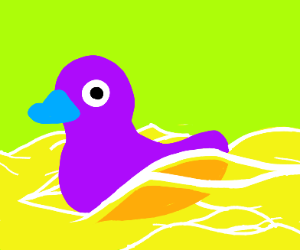 Purple duck in yellow sea with a green sky
