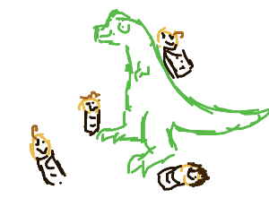 a dino and a baby are bff's