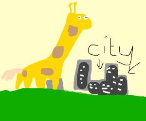Giant giraffe destroying the city
