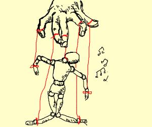Wooden dancing marionette