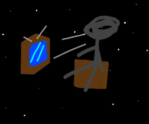 Man watching television in space