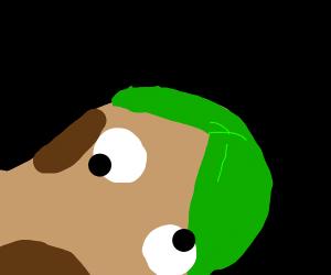 A potato with green hair