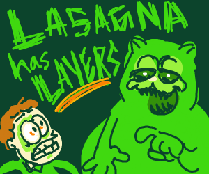 Green Garfield telling jon about lasagna laye