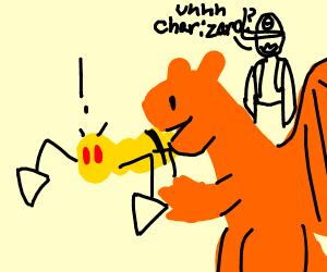Charizard eats a Beedrill