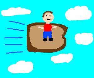 Boy on flying bread
