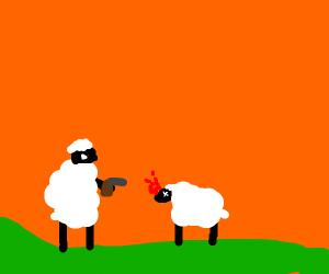 bipedal sheep murdes fellow sheep