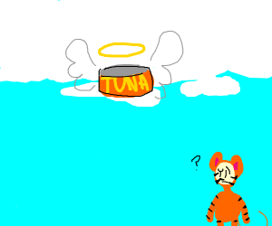 Catfood goes to heaven; cat nonplussed