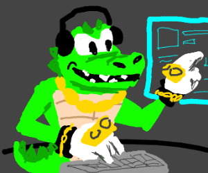 gangster alligator uses a computer