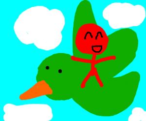 Red man riding green bird