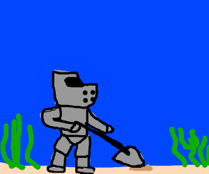 knight shoveling the sea bed underwater