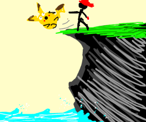 pikachu being pushed of a cliff