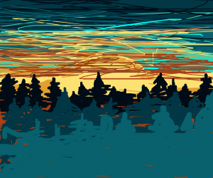 Forest with a sunset