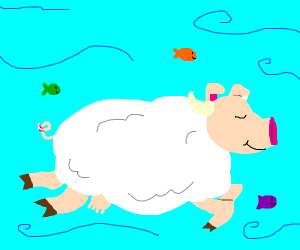 Sheepcowpig is swimming with the fishes.