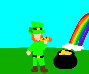 Leprechaun eats pizza