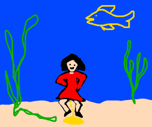 Girl peeing on the bottom of the sea