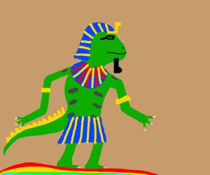 Iguana walking like an egyptian. on a rainbow