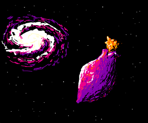 A violet fruit in space