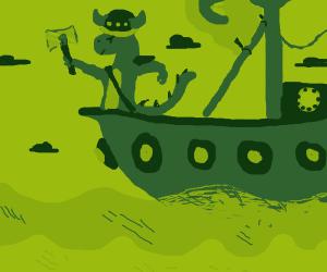 Dinosaur as a Viking on ship