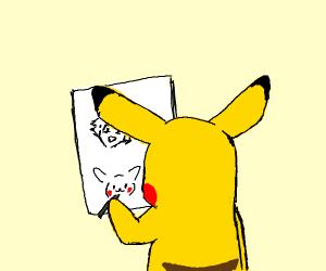 Pikachu drawing himself and Ash