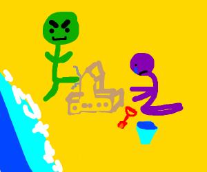 Green man destroys Purple Guy's Sandcastle