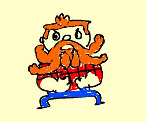 Manboy (powerpuff girls) flexing his moustach