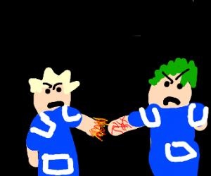 bakugo and deku fighting