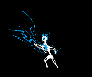 Skeleton shooting blue bolts