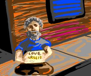 Motivational homeless man
