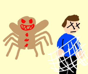 Evil ginger bread spider wraps around guy