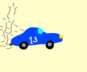 Blue racecar.
